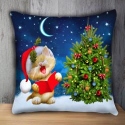 Пухкава декоративна възглавница WHITE CAT CHRISTMAS