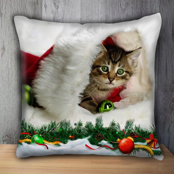 Пухкава декоративна възглавница FLUFFI CAT CHRISTMAS