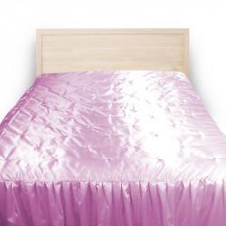 Луксозна двулицева кувертюра за спалня розов сатен