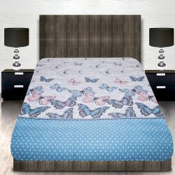 Луксозна двулицева кувертюра за спалня Blue Butterfly