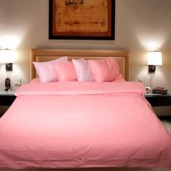 Комплект от двулицево луксозно спално бельо Праскова