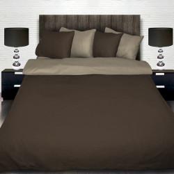 Памучен спален комплект от две лица - светло и тъмно кафяво