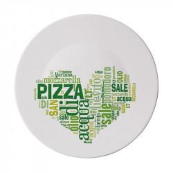 Чиния за пица 33 см. I Love Pizza (зелено)